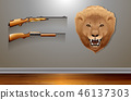 Hanging lion head on the wall 46137303