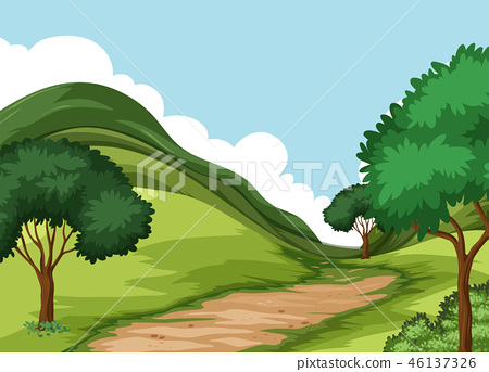 Beautiful green nature landscape 46137326