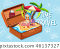 A girl on the beach in suitcase 46137327