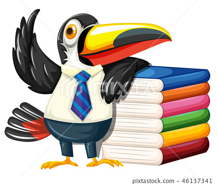 Toucan with many books 46137341
