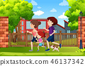 A family running in the park 46137342
