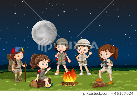 Children around a camp fire 46137624
