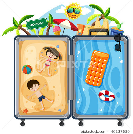 Kids on summer vacation suitcase 46137680