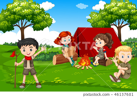 Children camping in nature 46137681