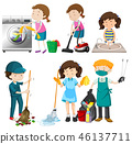 Set of people cleaning 46137711
