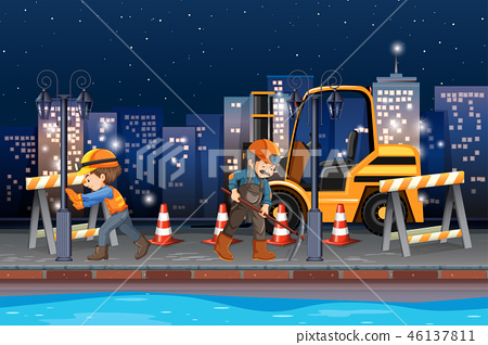 Construction worker working at night 46137811
