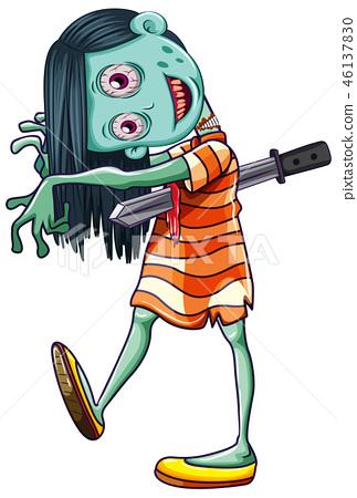 Creepy Zombie girl white background 46137830