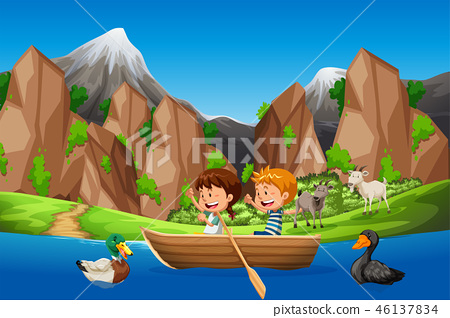 Kids paddle boat in nature 46137834