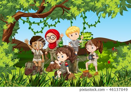 Group of international camping children 46137849