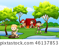 Camping kids in the forest 46137853