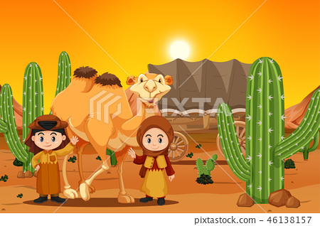 two children with camel in desert 46138157