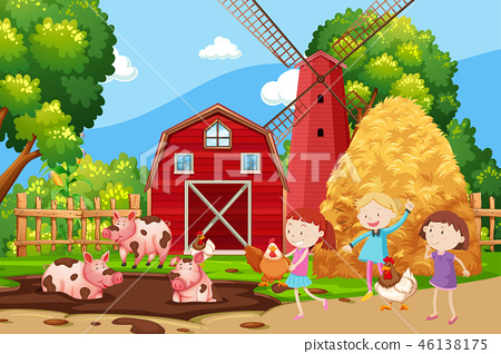 Children playing at the farmland 46138175