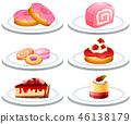 Set of dessert on plate 46138179