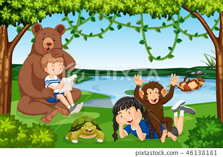 Children with wild animals scene 46138181