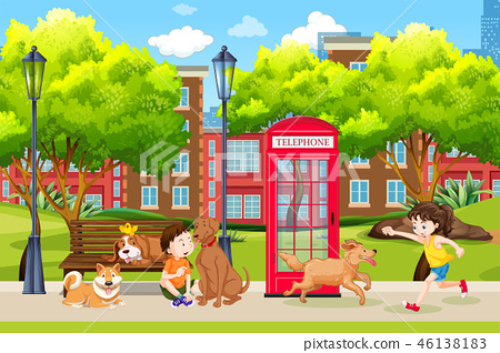 Children and dog at the park 46138183