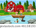 Children paddle wooden boat at farm 46138193