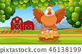 farm, hen, farmland 46138199