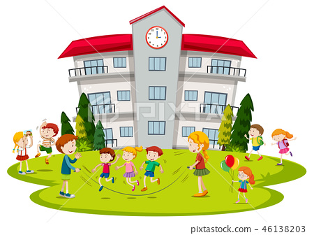 Children playing at school 46138203