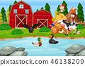 Children at the farmland 46138209