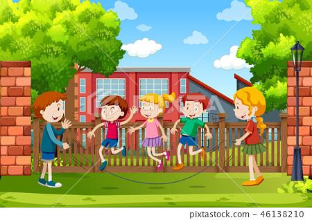 Children playing outside scene 46138210