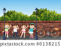 Group of children in street 46138215