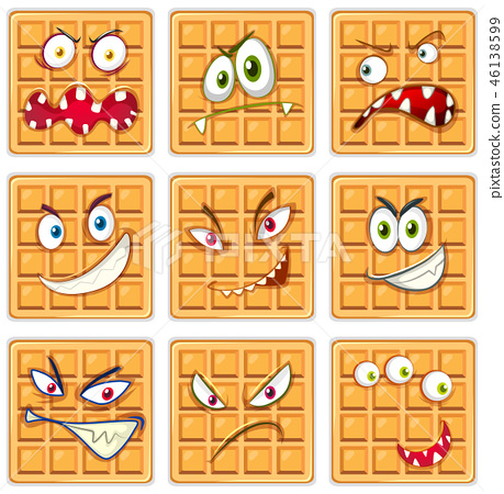 Set of waffle facial expression 46138599
