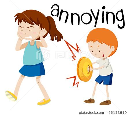 Young boy annoying girl 46138610