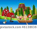 Children in a boat farm scene 46138636