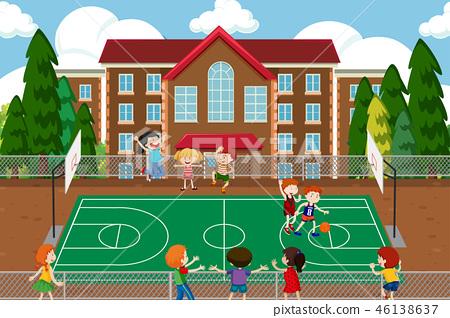 Boys playing basketball game 46138637