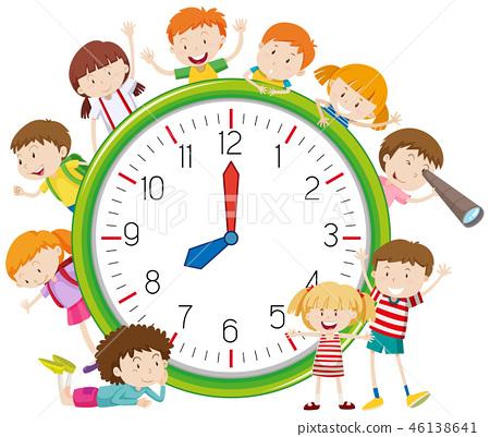 Kids around a clock 46138641