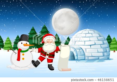 Santa in winter landscape 46138651