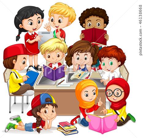 Group of international children learning 46138668