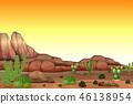 desert, sunset, cartoon 46138954