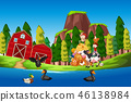 Children at the farmland 46138984