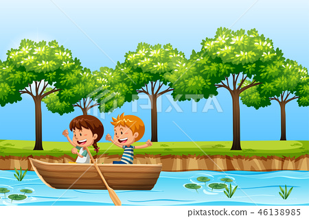 Children paddle wooden boat 46138985