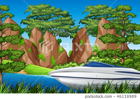 A speedboat in the nature 46138989