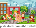 children, pet, park 46139049