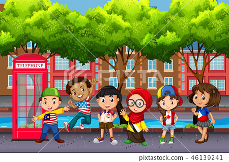 Group of children from different cultures 46139241