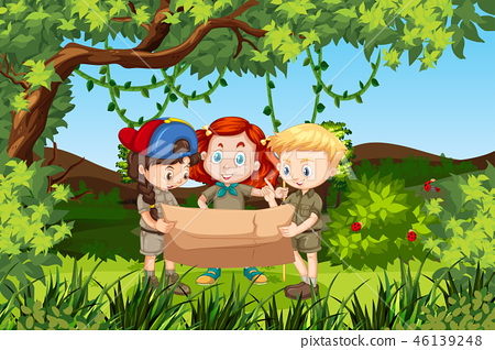 Children holding a map forest scene 46139248