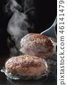 汉堡牛排 汉堡 铁板烧(在热板上烤菜) 46141479