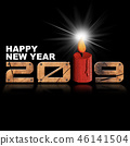 Happy New Year 2019 - Wooden Numbers and Candle 46141504