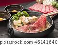 寿喜烧 锅里煮好的食物 用锅烹饪 46141640