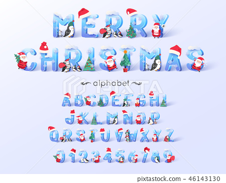 Vector Christmas font and alphabet. 3d