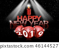 Happy New Year 2019 - Red Dice and Candle 46144527