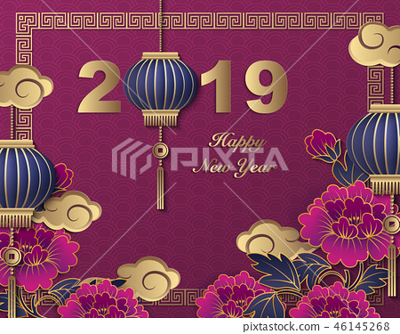 Happy Chinese new year retro relief pattern design 46145268