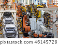 body of car on conveyor Modern Assembly of cars at plant. automated build process of car body 46145729