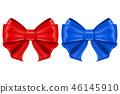 Red and blue ribbon bows. Shiny 3d symbols 46145910