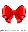 Red ribbon bow. Shiny 3d symbol 46145911
