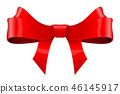 Red ribbon bow. Shiny 3d symbol 46145917