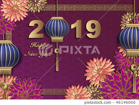Happy Chinese new year retro relief pattern design 46146008